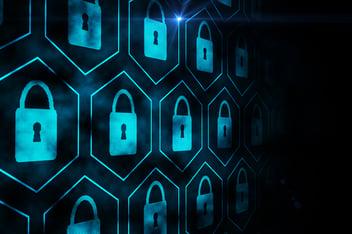 Simboli blu ripetuti raffiguranti un lucchetto per rappresentare la cyber security nello smart working